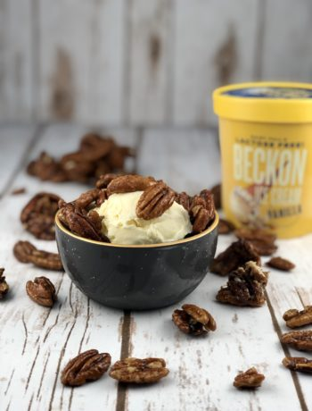 FODMAP Diet Desserts - candied pecans on top of vanilla ice cream