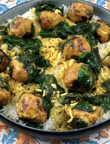 Thai turkey meatballs over rice in a large bowl