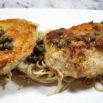 Gluten Free chicken piccata over pasta