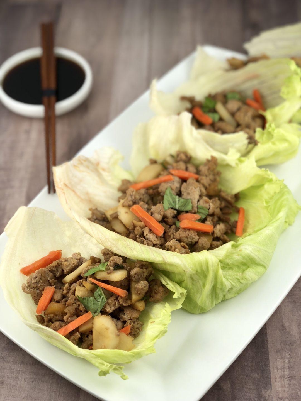 low FODMAP foods - chicken lettuce wraps