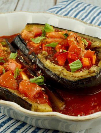 FODMAP Ssde dish - Baked Eggplant/Papoutsakia