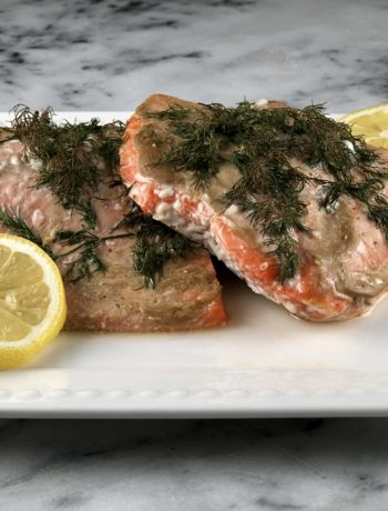 Baked dill salmon - a low FODMAP dinner recipe.