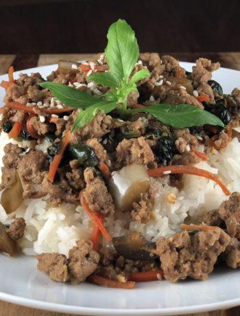 low FODMAP dinner - Asian Ground Turkey & Vegetable Stir Fry