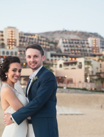 My husband and I on the beach in Cabo. Article has tips and tricks during wedding season on the FODMAP diet.