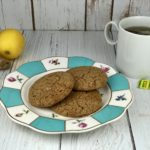 FODMAP Cookies - gingersnap cookies infused with lemon and mint on a floral plate