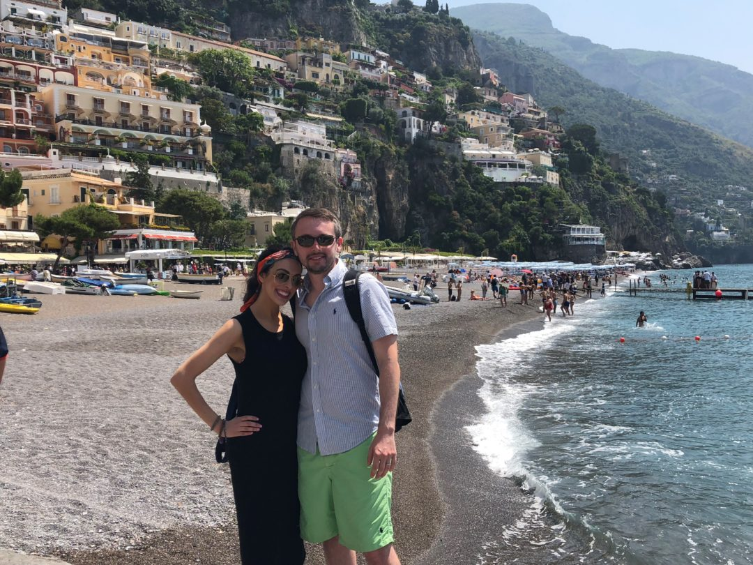 FODMAP travels - Amalfi Coast Eugene and I on the beach in Positano, Italy