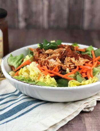FODMAP chicken recipe - Shredded Salsa Shredded Chicken over a salad