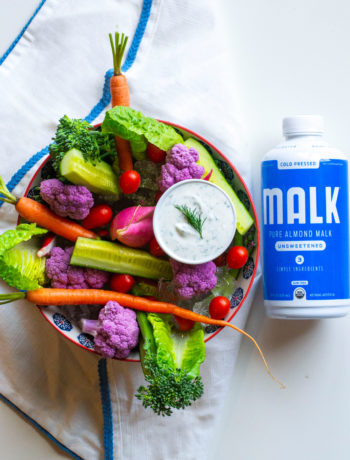 FODMAP snacks - Ranch Dip with FODMAP safe vegetables - Photo from Malk Organics
