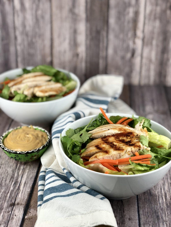 FODMAP salad + Chinese Chicken Salad with Peanut Sauce