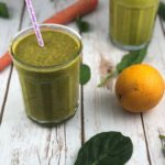 Low FODMAP smoothies - vitamin c smoothie with orange, carrot and spinach.