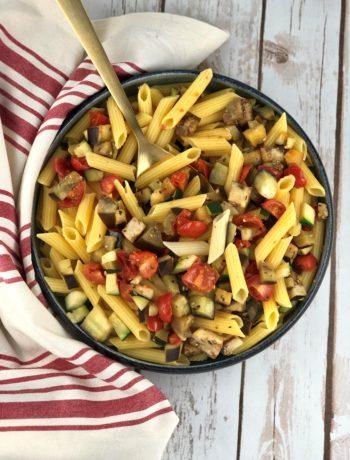 FODMAP vegetarian dinners - pasta with vegetables