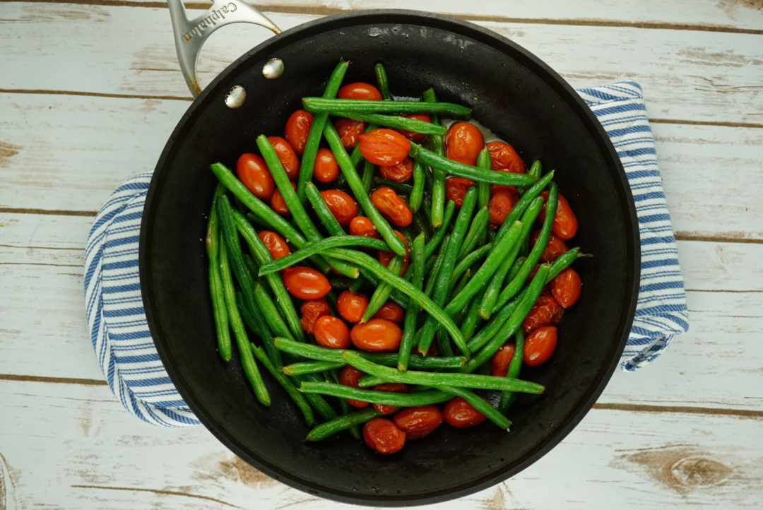 FODMAP vegetables - Sautéed Green Beans & Burst Tomatoes