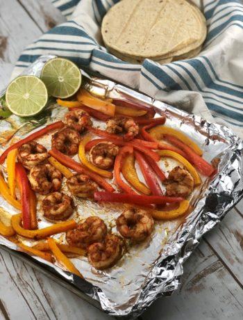 FODMAP shrimp recipes - Sheet pan shrimp fajitas