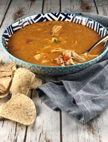 FODMAP safe Soup - Slow Cooker Pumpkin Chicken Tortilla Soup