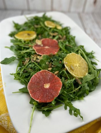 low FODMAP salad - citrus arugula salad